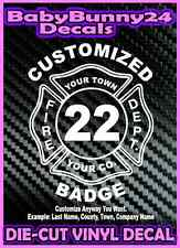 Custom FIREFIGHTER Badge Fireman Decal Vinyl Sticker