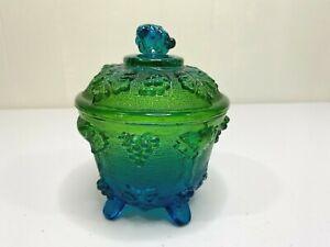 Vintage Carnival Glass Indiana Blue Green Harvest Grape Jar Canister Footed Lid