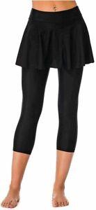 Seagoo Swim Skirt with Leggings Women UV Protection Skirted, Black, Size X-Large