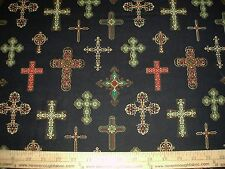 COTTON Fabric Michael Miller Divine Crosses Multi on black Crucifix Goth  BTY