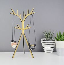 Jewellery Stand Wooden Necklace & Bracelet Display, Hooks, Stand, Natural Wood