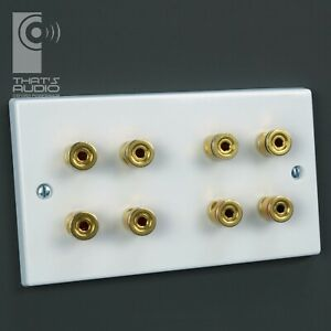 4.0 SPEAKER Wall Face Plate WHITE (8x Gold plated Non-Solder Binding Posts)