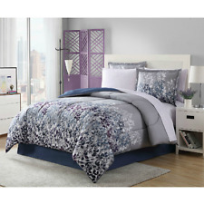 Grey Blue Black Floral 8 Piece Comforter Bedding Set Queen Size