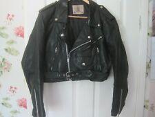 Vintage Negro Cuero Biker Jacket moto cafe racer