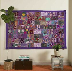 Indien 60 40 inch Cotton Purple Patchwork Vintage Boho Home decor Wall Hanging