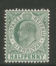 Gibraltar 1903 King Edward VII 1/2p green & blue green (39) MH