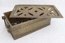 "Antique Philippines Maguindanao Brass Bronze Pierced Betel Nut Lidded Box 9¼"""