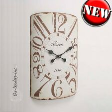 Vintage French Shabby Chic Distressed Metal Cream Wall Clock