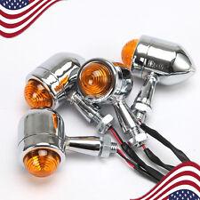 4X Chrome Bullet Turn Signals Light For Honda Kawasaki Suzuki Yamaha Cruiser US