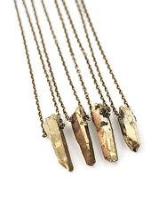 Gold Crystal Quartz Necklace-Boho Druzy-Healing Aura Bullet Stone Hippy Chakra