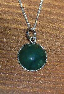 """Moss Agate Gem N/lace, Sil Plate Pendant with 16 or 18"""" Sterling Sil Curb Chain."""