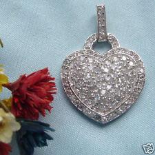 Ciondolo cuore argento 925 pavè di Zirconi Brillanti