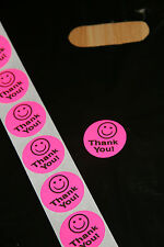 50 Hot Pink Smiley Thank You Stickers large 1.5 inch Round All FREE shipping