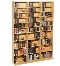 DVD CD Multimedia Wall Storage Unit Adjustable Cabinet Rack Shelves Maple NEW