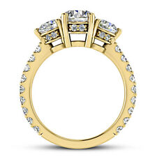 Pave 3 Stone 1.90 Carat SI1/F Round Diamond Engagement Ring Yellow Gold Enhanced