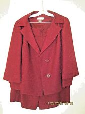 Woman's Formal Two Piece suite by Spiegel in dark red color size 18