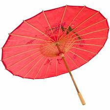 Asian Japanese Chinese Large Umbrella Parasol Sun Protective, Red, 32 Inch
