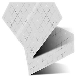 2 x Diamond Stickers 7.5cm BW - Rose Rhombus Tiles Art Deco  #42925