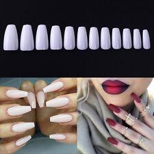 600X Ballerina False Fake Nail Tips Coffin Shape Natural White Clear Manicure