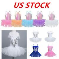 US Girls Gymnastics Dance Dress Ballet Kids Leotard Tutu Skirt Costume Dancewear