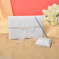 GB08b New Ivory Bow Flower Wedding Ceremony Satin Guest Book and Pen