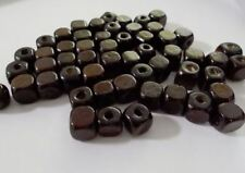 300pcs 10mm Wooden CUBE Squared Beads - Dark Brown A21