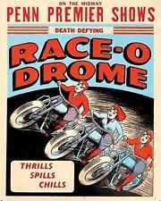 Vintage Freakshow  Sideshow  Circus Fair Carnival  Motorcycle Stunts   Art Print