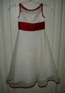 Alfred Angelo Flower Girl Wedding Dress White and Red Roses Girls 6