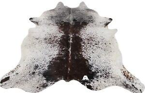 "Salt Pepper Brown & White Cowhide Rug (XXL 8'X6'5"" - XL 7'5""x6') - Premium Brazi"