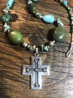 "#973 Vintage Cross Sterling Silver 925, Chunky Turquoise 22"" Necklace"