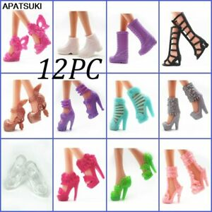 12pairs/set Fashion Doll Shoes For Barbie Doll Sandals 1/6 Doll Shoes Boots Toy