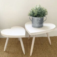 Set Of 2 Shabby Chic Heart Bed Side Table / Stools - Whitewash Natural Wood