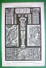 RENAISSANCE Wood & Stone Carvings - Litho Antique Print