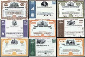 Lot of 9x SPECIMEN Certificates - Various Industries