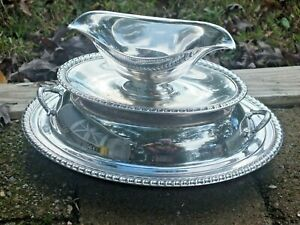 3 piece Vintage WM Rogers Silver Plated Gravy Boat AND Two piece SERVING TRAY
