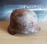 WW2 German Helmet M40/64 Winter Camo Combat damage Wehrmacht Original Dug relic