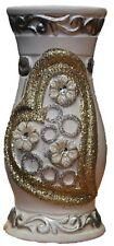 White & Gold Glitter Ceramic Heart Design Vase Round Hourglass Shape 20cm