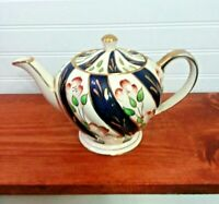 SADLER INDIVIDUAL SERVING TEAPOT BLUE PINK FLORAL SWIRL DESIGN CHINA ENGLAND