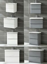 WestWood Bathroom Vanity Storage Unit with Sink High Gloss Cabinet 2 drawers