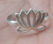 925 Sterling Silver-Balinese Ring Lotus Flower Carved Size 8,,,LT01