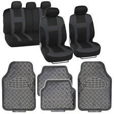 Car Seat Cover MONACO Racing Charcoal + Carbon Diamond Plate Floor Mats 13 PC