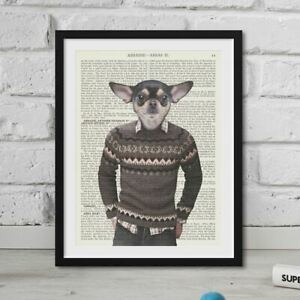 Hipster Animal Print Chihuahua Head On Human Body Dictionary Page Artwork