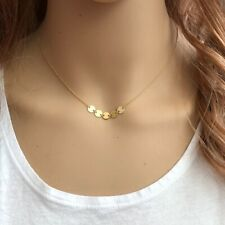 """14K Solid Yellow Gold 5 Mini Disc/Disk Choker Necklace adjustable Chain 16"""""""