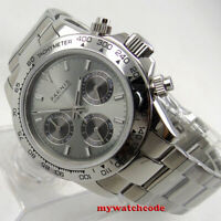 new 39mm PARNIS gray dial sapphire glass full Chronograph quartz ss mens watch