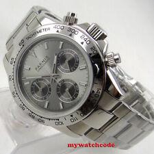 new 39mm PARNIS gray dial sapphire glass full Chronograph quartz ss mens watch