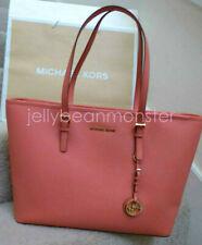 MICHAEL KORS Jet Set Multifunction Leather Shoulder Tote Bag Pink Grapefruit NEW