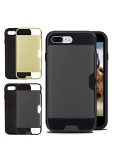 IPhone 7 Plus Card Case Changeable Covers Black Gold Card Slot x2 sets