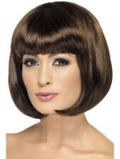 "Dark Brown Partyrama Wig Bob 12"" Long Fancy Dress Costume Ladies Wigs"