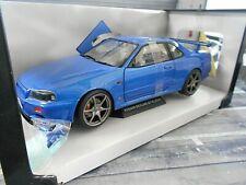 NISSAN Skyline GT-R R34 GTR GT R Coupe blau blue 1999 NEU Solido Metall 1:18