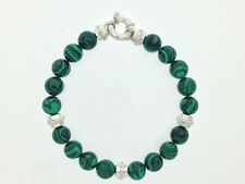 Malachite Beads Bracelet with 925 Sterling Silver